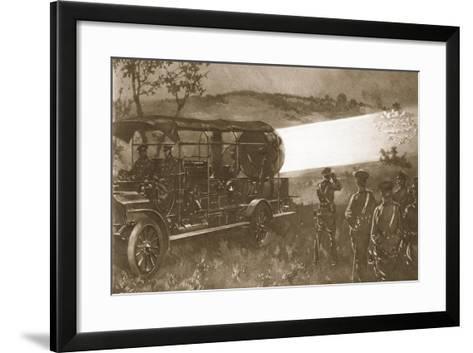 A British Motor Searchlight on the Battlefield--Framed Art Print