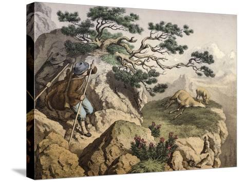 Chamois Hunters of the Alps--Stretched Canvas Print