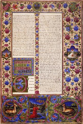 Incipit from Book of Ezekiel--Stretched Canvas Print