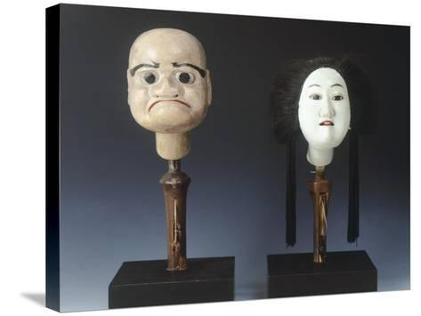 Two Puppet Heads from Bunraku Theater--Stretched Canvas Print