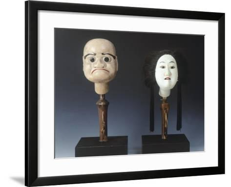 Two Puppet Heads from Bunraku Theater--Framed Art Print