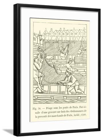 Peage Sous Les Ponts De Paris--Framed Art Print