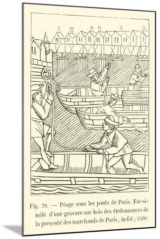 Peage Sous Les Ponts De Paris--Mounted Giclee Print