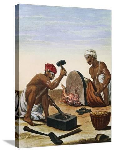 Men Melting Metal--Stretched Canvas Print