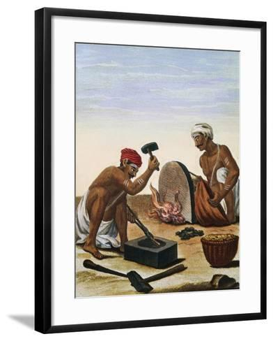 Men Melting Metal--Framed Art Print