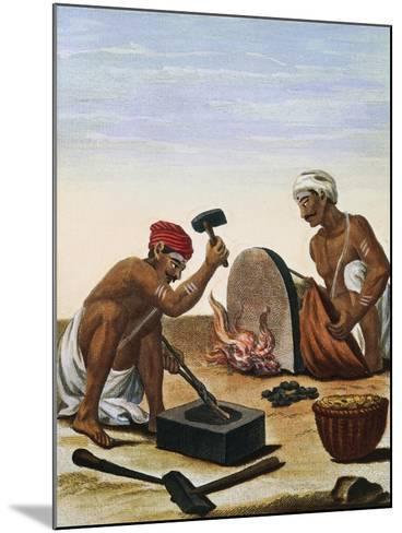 Men Melting Metal--Mounted Giclee Print