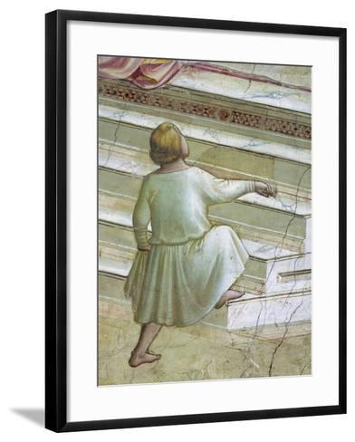 Child in Front of Stairs--Framed Art Print
