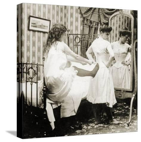 Humorous Stereoscopic Card Depicting a Woman Being Laced into a Corset, C.1900--Stretched Canvas Print