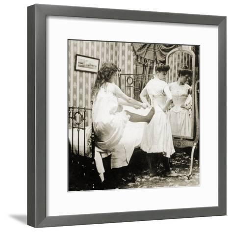 Humorous Stereoscopic Card Depicting a Woman Being Laced into a Corset, C.1900--Framed Art Print