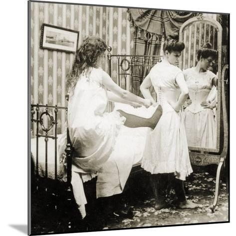 Humorous Stereoscopic Card Depicting a Woman Being Laced into a Corset, C.1900--Mounted Photographic Print