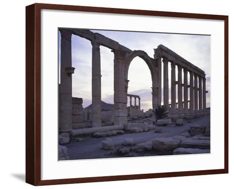 Syria, Palmyra, Great Colonnaded Street in Front of Intersection of Tetrapylon--Framed Art Print