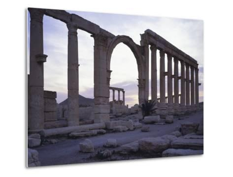 Syria, Palmyra, Great Colonnaded Street in Front of Intersection of Tetrapylon--Metal Print