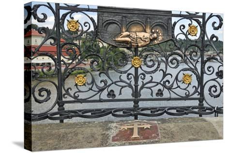 Memorial Plate for Saint John of Nepomuk, Charles Bridge, Prague, Czech Republic--Stretched Canvas Print