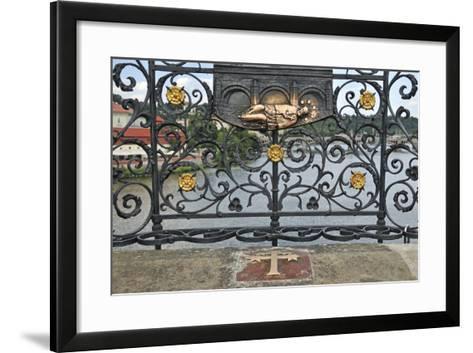Memorial Plate for Saint John of Nepomuk, Charles Bridge, Prague, Czech Republic--Framed Art Print