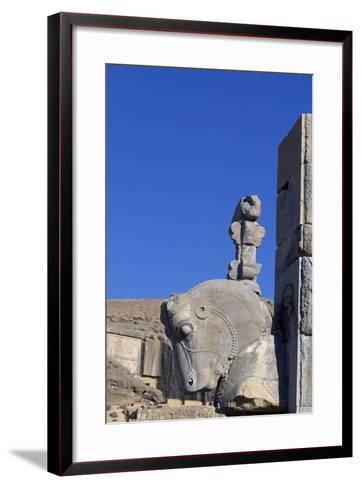 Bull's Head-Shaped Capital from Throne Room or Room of Hundred Columns, Persepolis--Framed Art Print