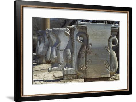 Old Supports for Market Stalls with Depictions of Griffins, Roman City of Leptis Magna--Framed Art Print
