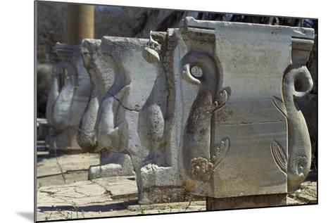 Old Supports for Market Stalls with Depictions of Griffins, Roman City of Leptis Magna--Mounted Photographic Print