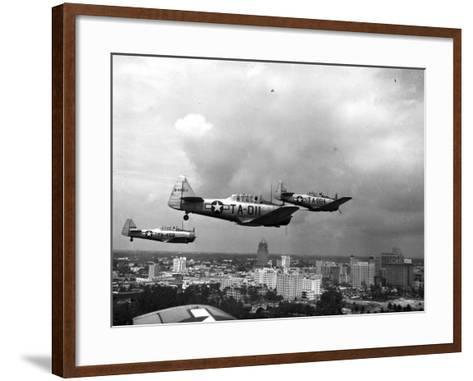 Three Air Force Planes Take Part in a Simulated Air Attack over Downtown Miami, 1946--Framed Art Print