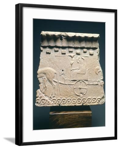 Fictile Tablet Depicting Pair of Princes in Chariot Procession, from the Murlo Residence in Siena--Framed Art Print