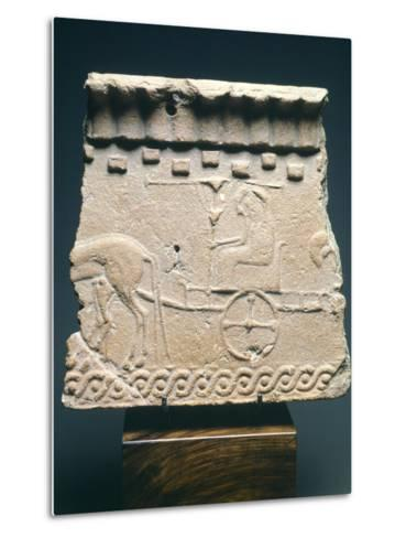 Fictile Tablet Depicting Pair of Princes in Chariot Procession, from the Murlo Residence in Siena--Metal Print
