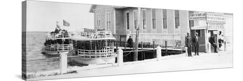 The Biscayne Navigation Company''S Tour Boats Docked at the Foot of Flagler Street, C.1901--Stretched Canvas Print