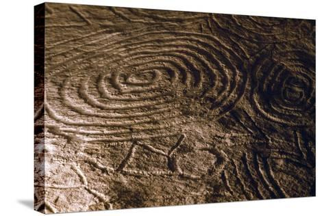 Detail of the Engravings in the Central Chamber of Newgrange Stone Age Passage Tomb--Stretched Canvas Print