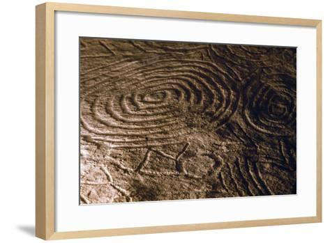 Detail of the Engravings in the Central Chamber of Newgrange Stone Age Passage Tomb--Framed Art Print