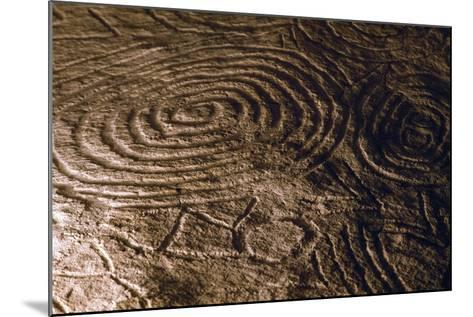 Detail of the Engravings in the Central Chamber of Newgrange Stone Age Passage Tomb--Mounted Photographic Print