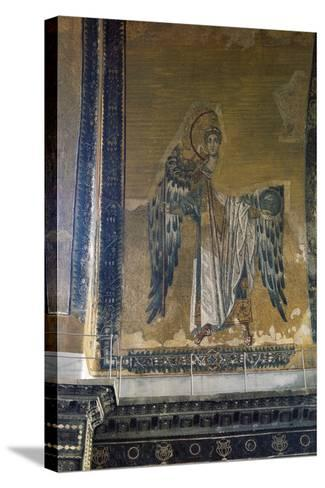 Mosaic Depicting Archangel Gabriel, Half Dome of Apse of Hagia Sophia, Historic Areas of Istanbul--Stretched Canvas Print