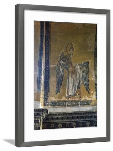 Mosaic Depicting Archangel Gabriel, Half Dome of Apse of Hagia Sophia, Historic Areas of Istanbul--Framed Art Print