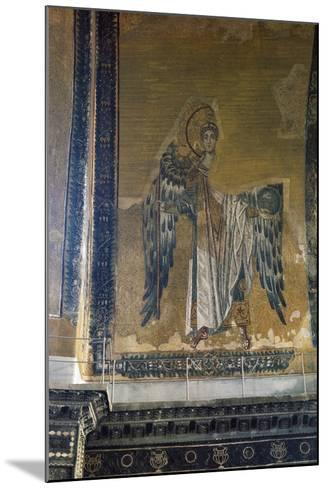 Mosaic Depicting Archangel Gabriel, Half Dome of Apse of Hagia Sophia, Historic Areas of Istanbul--Mounted Photographic Print