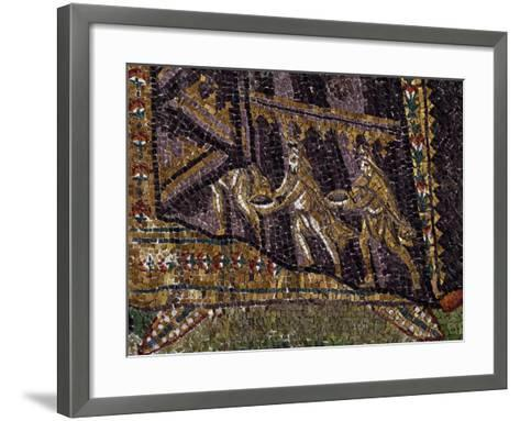 Theodora with Her Entourage, Mosaic, South Wall of Apse, Basilica of San Vitale--Framed Art Print