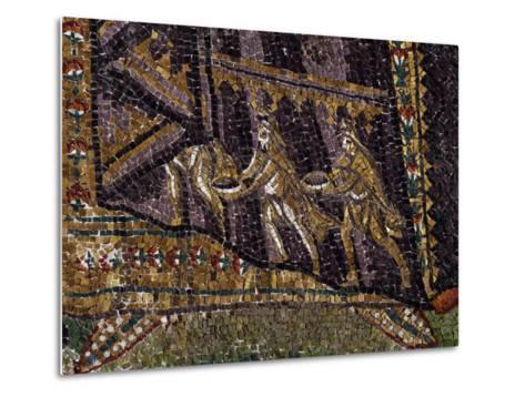 Theodora with Her Entourage, Mosaic, South Wall of Apse, Basilica of San Vitale--Metal Print
