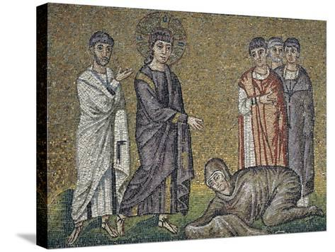 The Healing of the Hemorrhage, Mosaic, North Wall, Upper Level, Basilica of Sant'Apollinare Nuovo--Stretched Canvas Print
