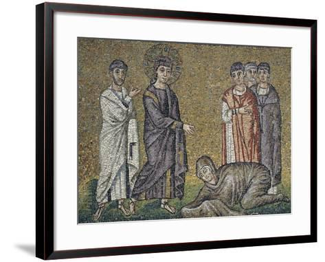 The Healing of the Hemorrhage, Mosaic, North Wall, Upper Level, Basilica of Sant'Apollinare Nuovo--Framed Art Print