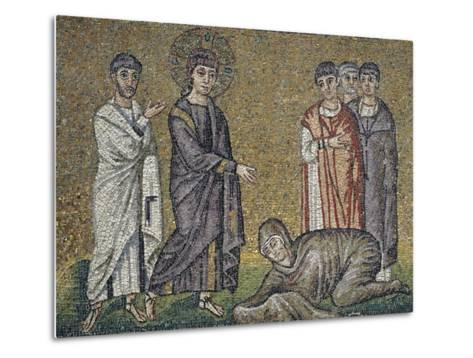The Healing of the Hemorrhage, Mosaic, North Wall, Upper Level, Basilica of Sant'Apollinare Nuovo--Metal Print