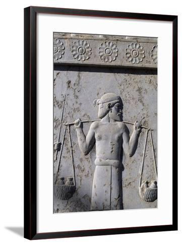 Bas-Relief with Indian Carrying Tributes, East Staircase, Apadana, Persepolis--Framed Art Print