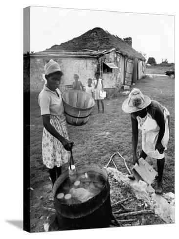 Making Guava Jelly, a Staple of Diet on Great Exuma Island, Bahamas, C.1978--Stretched Canvas Print