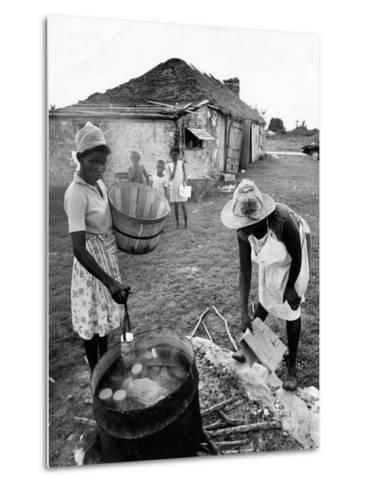 Making Guava Jelly, a Staple of Diet on Great Exuma Island, Bahamas, C.1978--Metal Print