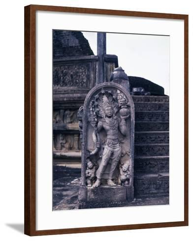 Stele Depicting the Serpent King, Guardian of Vatadage, or Circular Relic Chamber, Polonnaruwa--Framed Art Print