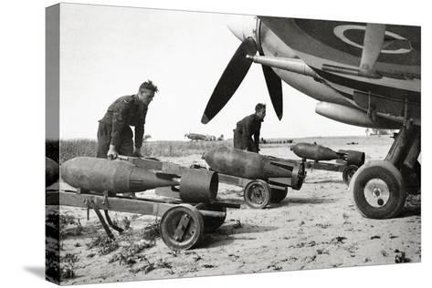 Bombs Being Loaded into a Supermarine Spitfire Mk XIV of the Royal Air Force--Stretched Canvas Print