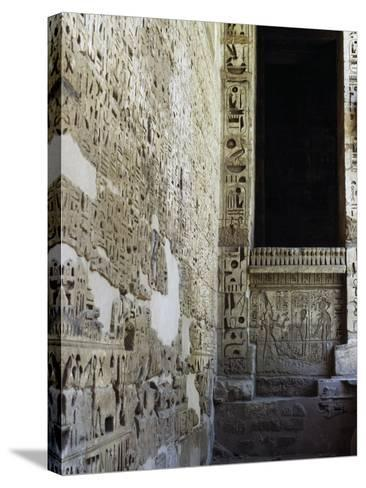 Painted Reliefs, 2nd Courtyard, Mortuary Temple of Ramesses Iii, Medinet Habu, Thebes--Stretched Canvas Print