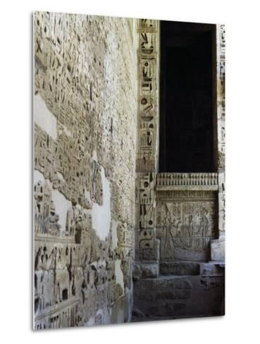 Painted Reliefs, 2nd Courtyard, Mortuary Temple of Ramesses Iii, Medinet Habu, Thebes--Metal Print
