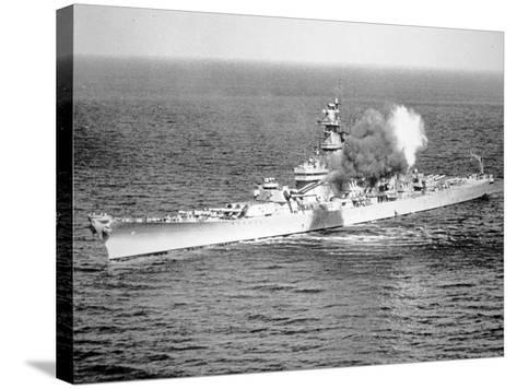 Uss New Jersey Fires 16-Inch Salvo Against Enemy Shore Target, 6th June 1951--Stretched Canvas Print