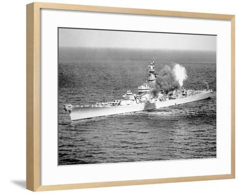 Uss New Jersey Fires 16-Inch Salvo Against Enemy Shore Target, 6th June 1951--Framed Art Print