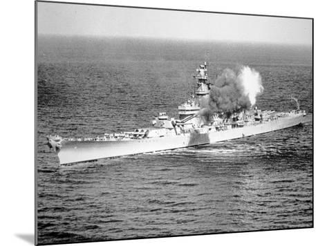 Uss New Jersey Fires 16-Inch Salvo Against Enemy Shore Target, 6th June 1951--Mounted Photographic Print