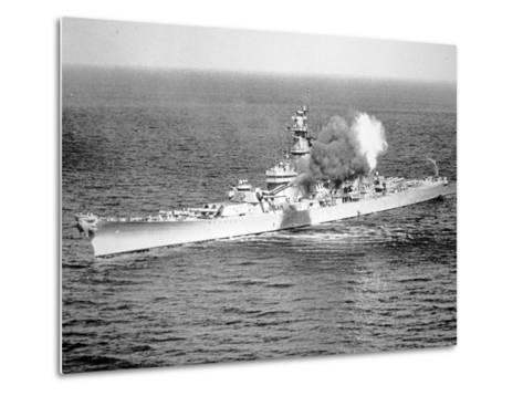 Uss New Jersey Fires 16-Inch Salvo Against Enemy Shore Target, 6th June 1951--Metal Print