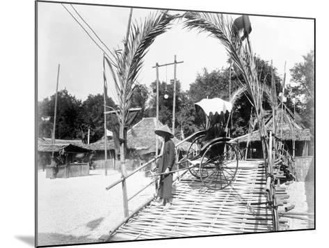 A Pousse-Pousse Driver at the Entrance to Tonkin Village, Paris Exhibition, 1889--Mounted Photographic Print