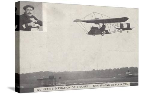 Belgian Aviator Josef Christiaens Flying at the Stockel Aviation Fortnight, Brussels, Belgium, 1910--Stretched Canvas Print