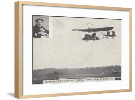 Belgian Aviator Josef Christiaens Flying at the Stockel Aviation Fortnight, Brussels, Belgium, 1910--Framed Art Print